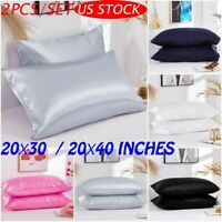 2PCS Pure Satin Silk Standard Queen Pillowcase Comfy Luxury Pillow Case Cover US