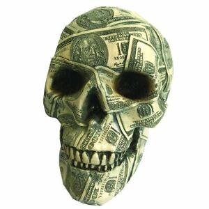 "Funky ""Made Of Money"" Ornamental Poly-Resin Money Box Skull H19.5cms"