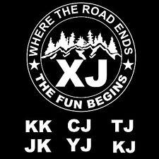 Custom Jeep The Fun Begins XJ CJ YJ TJ JK KJ KK Funny 4X4 Vinyl Decal / Sticker