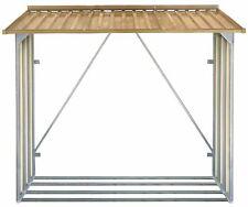 Oak Effect Galvanised Metal Firewood Shelter