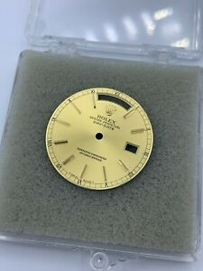 GENUINE ORIGINAL ROLEX Day-Date Champagne Dial Gold-Stick Markers