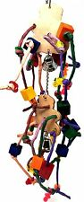 1371 Two Teddy Leather Bonka Bird Toys parrot foot talon cage part toy wood
