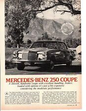 1970 MERCEDES-BENZ 250 COUPE ~ ORIGINAL 4-PAGE ROAD TEST / ARTICLE / AD