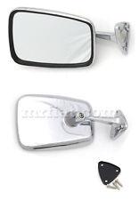 Fiat 850 124 Spider Chrome Side View Mirror Trapezoid New