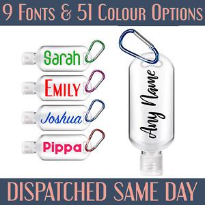 Personalised Sanitiser Bottle Empty Travel Bottle Stocking Filler Any Your Name