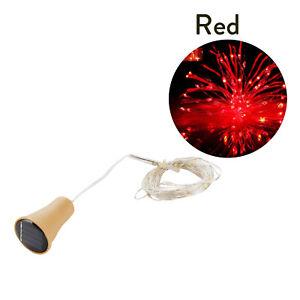 1.5M 2M LED Solar Copper Cork Wire String Light Wine Bottle Xmas Decor Lamps GD