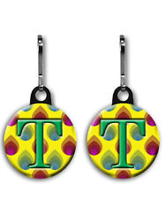 Two Initial Zipper Pulls You Choose The Initials on These Colorful Initial Pulls