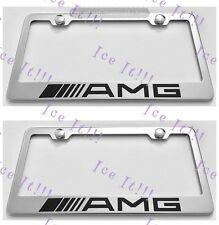 """2X MERCEDES """"AMG """" Stainless Steel License Plate Frame Rust Free W/ Caps"""