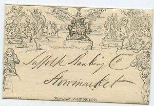 Großbritannien Mulready Brief Umschlag Ipswich Stowmarket 1842