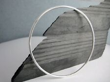 Hand Forged Solid 2mm Sterling Silver Plain Round Stacking Bangle Sizes S•M•L•XL