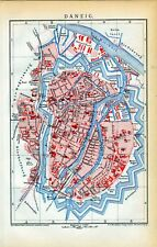 Antique map plan Gdańsk Gdansk Danzig Poland 1892