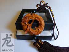 Brown Chinese Dragon Collection Buddha Statue Rosewood Craved / luck /happiness