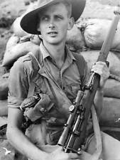 WWII B&W Photo Australian Sniper Enfield Rifle ANZAC  WW2 World War Two  / 1100