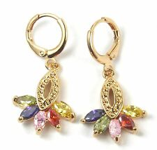 Women's 18 Carat Gold Filled Multi Colour Zircon Drop Huggie Earrings Jewellery
