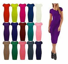 Unbranded Women's Cap Sleeve Scoop Neck Stretch, Bodycon Dresses