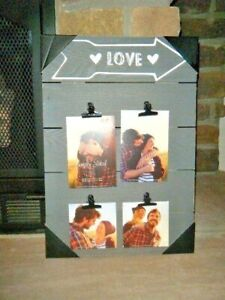 "NEW WOOD PICTURE FRAME 11 1/2' X 13"" GREY HOLDS 4 PIC'S  FARMHOUSE STYLE ""LOVE"""