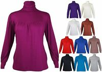 New Womens Long Sleeve Gathered T-Shirt Tops Ladies High Polo Neck Plus Size Top