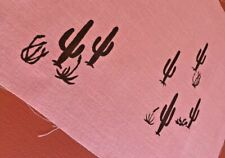 MCM Vintage Leona Caldwell Hand Silkscreened Saguaro Desert Scene on Pink Fabric