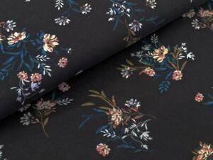 Jersey Blütenzweig schwarz Stoff Jersey Meterware Blumen