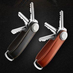 Mens Real Genuine Leather Household Keychain Keyring Strap Belt Holder Organizer