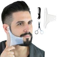 Beard Shaping Tool - 3 in 1 Multi-liner Shaper Comb Scissors Kit Transparent
