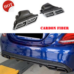 Dry Carbon Fiber Exhaust Pipe Tail Muffler Tips For Benz A B C E S G AMG C-lass