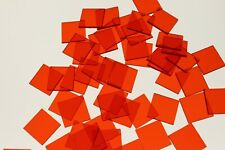 50 x SQUARE TRANSPARENT RED COLOUR PLASTIC COUNTER CHIPS - FREE UK POST