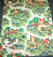 """Vintage 80s Smurfs Size 80x100"""" Flat  Bed Sheet Peyo JCPenney Fabric Very Nice"""