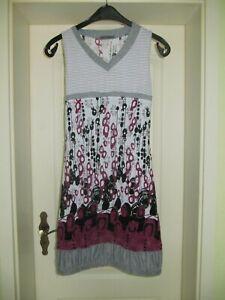 Glamz Kleid Gr. 38 S M grau schwarz beere weiß blau Long Shirt Tunika Bluse Top