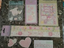 Scrapbooking supplies baby girl themed lot