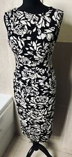 Phase Eight Black White Roses Stretch Wiggle Gathered Glam Statement Dress 10