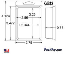 """K4313: 975 - 4""""H x 3""""W x 0.75""""D Clamshell Packaging Clear Plastic Blister Pack"""