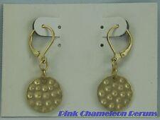 NEW ON CARD Costume Jewelry Metal Pierced Dangle Earrings Goldtone