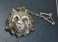 Plata Antiguo Victoriano Cabeza De Perro Terrier Repousse Broche/Pin