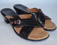Sofft Comfort Sandals Womens 9.5 M Black Leather Strappy Slides Med Heel Shoe