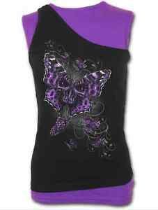 SPIRAL DIRECT BUTTERFLY SKULL 2 IN 1 SLANT TOP PURPLE AND BLACK GOTH, *SALE*