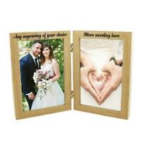 Personalised Wooden Double Photo 4 x 6 Frame Custom Engraved Any Message FW51946