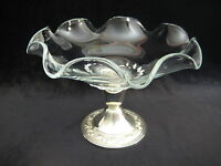 """Vintage Alvin Sterling Silver & Glass Compote With Ruffled Rim, 5 1/2"""" T X 8"""" D"""