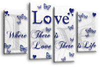 BLUE GREY LOVE QUOTE WALL ART WHITE CANVAS FAMILY PICTURE 4 PANEL SPLIT