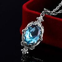 925 Sterling Silver Necklace Pendant Aquamarine Vintage Handmade Fine Jewelry