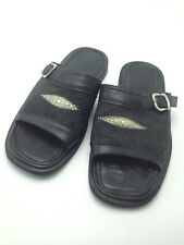 Men's Genuine Sting Ray Skin Leather Black Shoes Sandals Buckle Flat Size 8.5