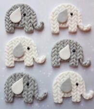 6 white & Grey elephants,christening,baby shower fondant cupcake toppers