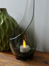 Vintage Retro Mid Century Modern SMOKE Taper Glow GLASS Candle Holder - 38cm