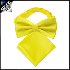 MENS BOW TIE AND POCKET SQUARE handkerchief hanky necktie CHOOSE COLOUR