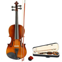 3/4 Acoustic Violin Case Bow Rosin Natural For 9 10 11 12 Years Students US
