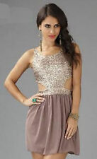 Womens Bronze/Gold Sequin Cut Out Skater Club Dress Size 16 Miss Lushh BNWT £50