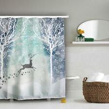 Home Decor Xmas Reindeer Snowflakes Bathroom Waterproof Bath Shower Curtain