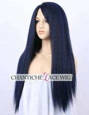Women's Italian Yaki Wig Synthetic Hair Long Blue Machine Made Wig Heat Friendly