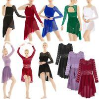 Women Lyrical Dress Contemporary Ballet Dance Costume Leotard Bodysuit Tutu