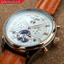 Mens Automatic Mechanical Watch Date Day Rose Gold White Dial Orange Leather